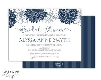 Blue Daliah Flower Bridal Shower Invitation - Printable Invitation BD01