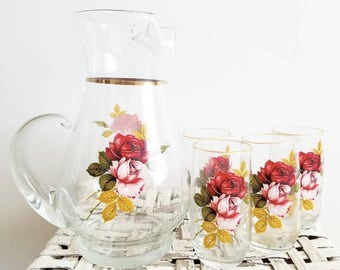 Mid century rose pitcher and glasses