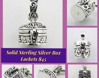 SOLID STERLING SILVER Treasure Box Pendant