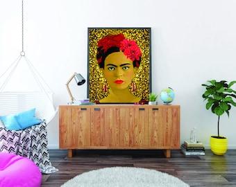 Golden soul - Canvas, Frida Kahlo Art, Wall decor, Interior design, Inspiring home