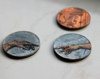 Hand Painted Coin, 'The Creation of Adam'