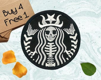 Mermaid Patches Skeleton Patches Iron On Patch Embroidered Patch Sew On Patch Iron On Badges