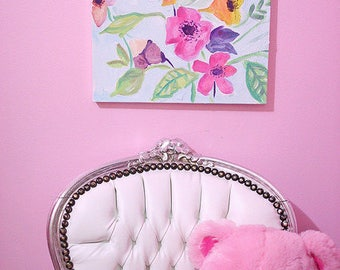 hand-painted  canvas flower painting