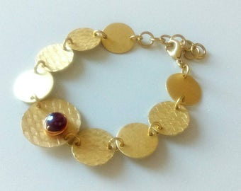 Gold Brass Bracelet with Red Chalcedony