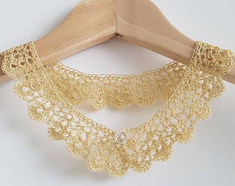 Crochet golden polyester lace collar/necklace