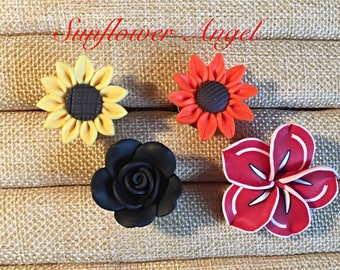 Flower rings, 4 different, sunflower, daisy, orchid, rose. Expandable ring. Wedding