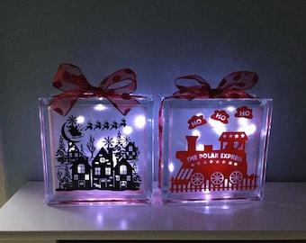 Christmas glass blocks with lights