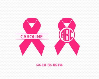Cancer Ribbon Monogram SVG,Cancer Survivor,Awareness Ribbon SVG, breast cancer ribbon svg,Files for Cricut cameo Silhouette svg jpg png dxf
