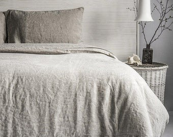 Full flax bed linen set   Flax pillowcases set   Flax sheet   Flax duvet cover   Gray flax bed linens
