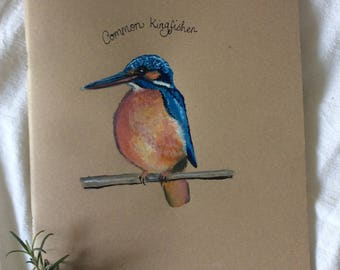 A4 Journal/Notebook with handpainted kingfisher illustrated cover