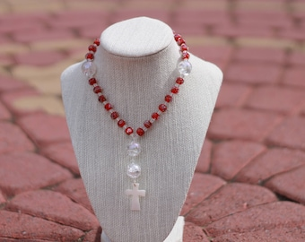 Anglican Prayer Beads + Red/Clear