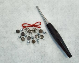Gray Beaded Crochet Stitch Markers