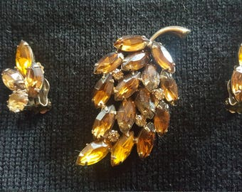 Amber Colored Brooch & Earing Set