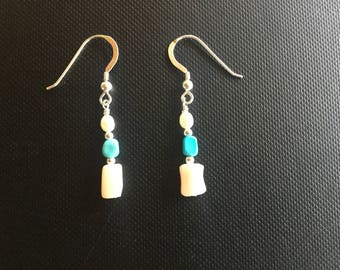 Earrings, Pink Coral, Turquoise, Freshwater Pearl, Sterling Silver.