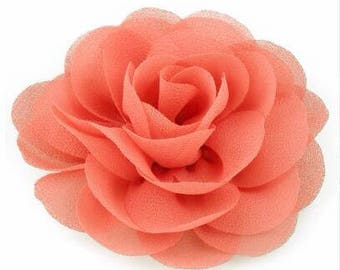 2 Coral Rose Flower Baby Girl Hair Clips 1 Pair