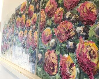 3 flower paintings