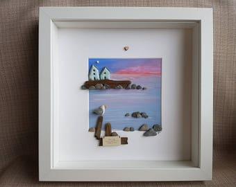 Pebble Art-Pebble Picture-Pebble Art Ideas-Pebble Seagull-Pebble Gift-Sea Scene-Sunset-Clay Cottages
