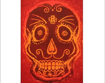 Sugar Skull, original, hand painted, day of the dead, painting