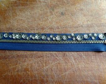 Vintage Look: Brass Flower Navy Blue Zipper Bracelet