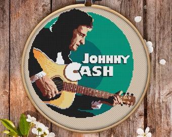 Johnny Cash Cross Stitch Pattern for Instant Download - 038| Easy Cross Stitch| Counted Cross Stitch| Embroidery Design| Needlecraft Pattern
