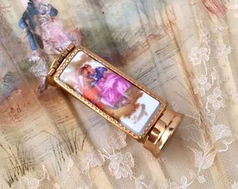 Vintage 1940s Limoges Porcelain Romantic Courting Scene Lipstick Holder Tube Case with Mirror