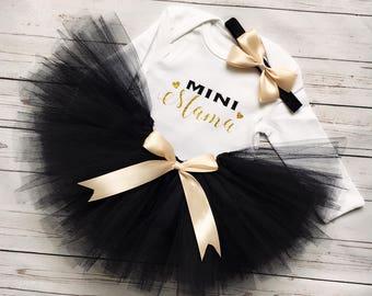 Black Tutu Mini Mama outfit, Black Tutu Set, Mini Mama, Gold Mini Mama