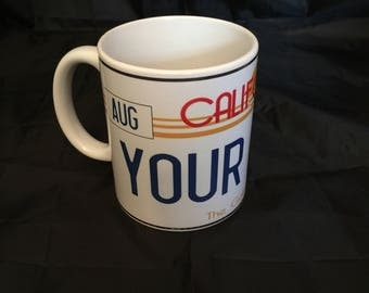 """Personalised USA California number plate mug, """"your name"""" """"date of birth"""" looks great, super gift"""