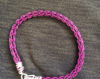 black and pink norse wire woven bracelet