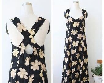 990's vintage grunge summer dress M L, cross back dress, floral sundress medium