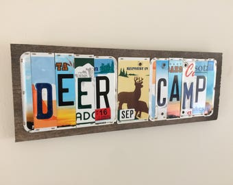 "Deer Camp hanging sign 6""x20"""