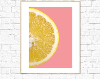 Lemon Print, Pink, Food Art, Fruit Print, Photography, Kitchen Dining Room Decor, Colorful Minimalist Printable Wall Art, Instant Download