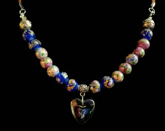 Hematite heart with floral beads