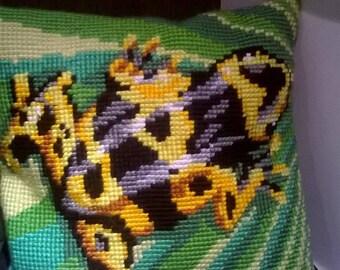 pillow, decorative pillow, gift,frog cross stitch