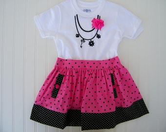 Pink polka dot shirt and skirt set for girls age 4 to 5