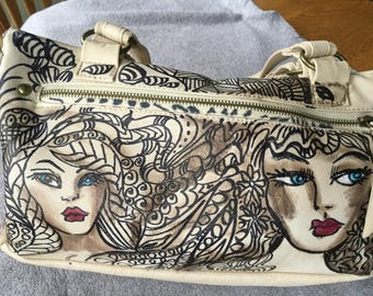 Hand painted blue eyed face purse