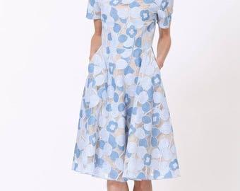 Lace Midi Dress-Blue