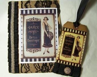 Handmade greeting card. Paris Dress Boutique card.
