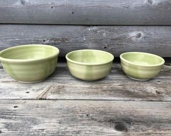 Green Ceramic Nesting Bowls