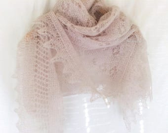 Elegant lace stole|Evening shawls wraps|Dusty rose mohair shawl|Scarves hand knitted|Knit wool scarf|Large scarfs|Shoulder cover-up|Mum gift