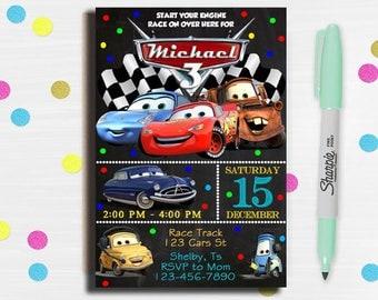 Cars Invitation, Disney Cars Birthday Invitation, Disney Cars Invitation, Cars Birthday party, Cars Birthday Invitation, Cars Birthday card,