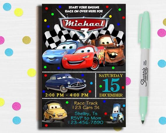 Autos Einladung, Disney Cars Geburtstags Einladung, Disney Cars Einladung,  Autos Geburtstag Party, Autos Geburtstagseinladung, Autos Geburtstagskarte,
