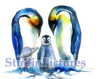 Penguins drawing with watercolor for printing, digital download