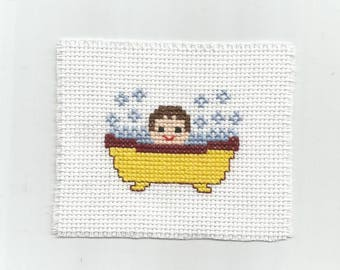Baby in a bathtub - Digital pattern - Instant download -Point of croix - Punto cruz - Embroidery pattern - Cross Stitch pattern PDFs