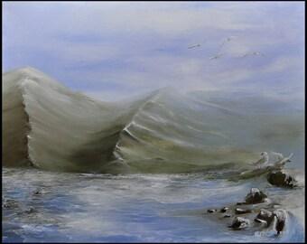 Seashore landscape oil painting