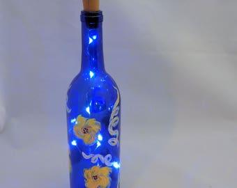 Painted wine bottle lights
