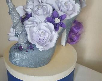 Unicorn shoe decoration, Paper flowers, Unicorn wedding table centrepiece, Sellotape shoe, Unicorn party gift, Wedding table centrepiece