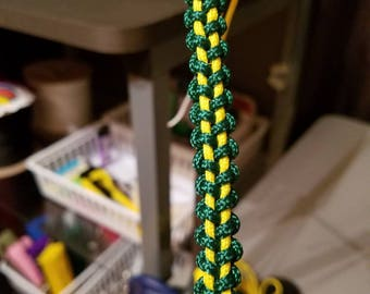green on yellow paracord plant hanger