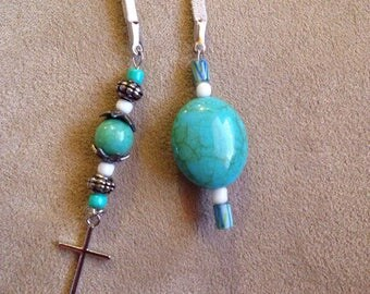 Turquoise colored beads and Cross White leather lariat
