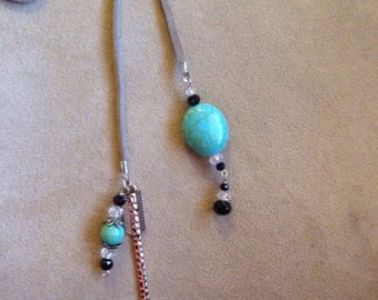 Turquoise Gray Leather Lariat with Arrow