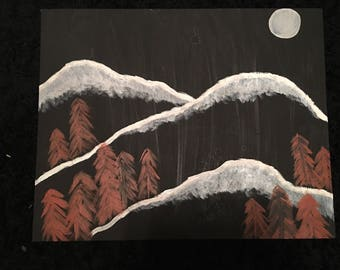Black and white mountain painting
